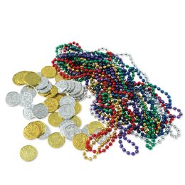 12 Units of Treasure Loot 12-Asstd Color Beads & 50-Gold/silver Coins - Party Novelties