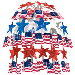 12 Units of Flag Cascade combination metallic & boardstock - Party Center Pieces