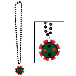 12 Units of Beads w/Poker Chip Medallion - Party Necklaces & Bracelets