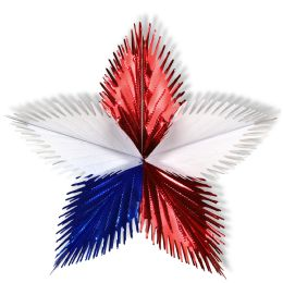 12 Units of Leaf Starburst red, white, blue - Hanging Decorations & Cut Out