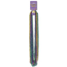 12 Units of Mardi Gras Small Round Beads asstd gold, green, purple - Party Necklaces & Bracelets
