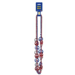 12 Units of Patriotic Peace Sign Beads asstd red, silver, blue - Hanging Decorations & Cut Out