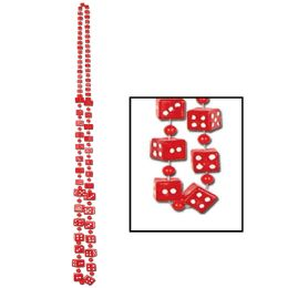 12 Units of Dice Beads red - Party Necklaces & Bracelets