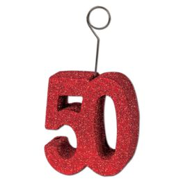 6 Units of Glittered  50  Photo/Balloon Holder red