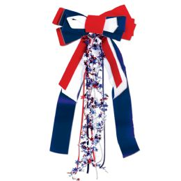 12 Units of Patriots Pride Ribbon red, white, blue; velvet bow w/star wire garland accents - Streamers & Confetti