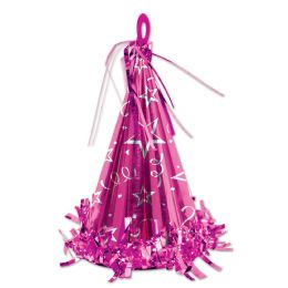 12 Units of Cone Hat Balloon Weight Cerise - Party Hats & Tiara