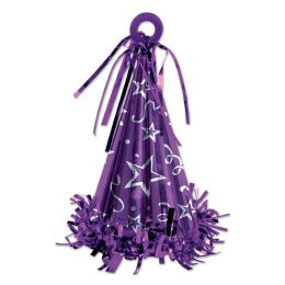 12 Units of Cone Hat Balloon Weight Purple - Party Hats & Tiara