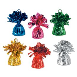 12 Units of Metallic Wrapped Balloon Weights Asstd Colors - Balloons & Balloon Holder