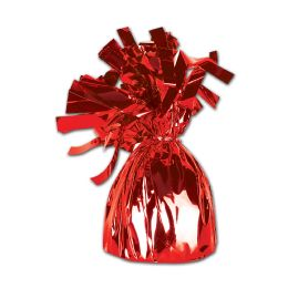 12 Units of Metallic Wrapped Balloon Weight Red - Balloons & Balloon Holder