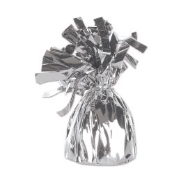 12 Units of Metallic Wrapped Balloon Weight Silver - Balloons & Balloon Holder