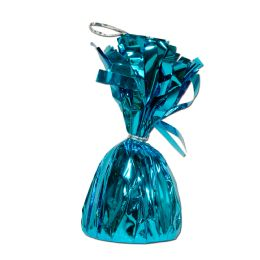 12 Units of Metallic Wrapped Balloon Weight Turquoise - Balloons & Balloon Holder