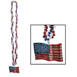 12 Units of Braided Beads w/American Flag Medallion - Party Necklaces & Bracelets
