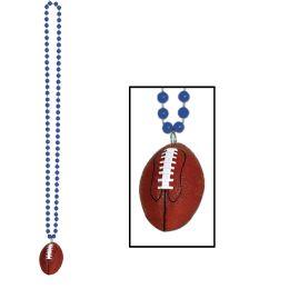 12 Units of Beads w/Football Medallion blue - Party Necklaces & Bracelets
