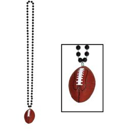 12 Units of Beads w/Football Medallion black - Party Necklaces & Bracelets