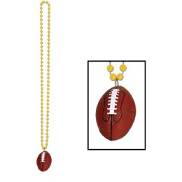 12 Units of Beads W/football Medallion Gold - Party Necklaces & Bracelets