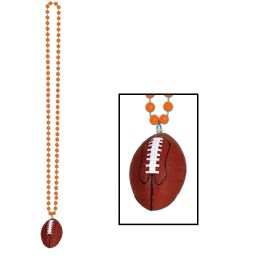 12 Units of Beads w/Football Medallion orange - Party Necklaces & Bracelets