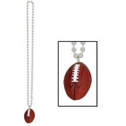 12 Units of Beads w/Football Medallion silver - Party Necklaces & Bracelets