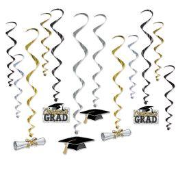 6 Units of Graduation Whirls 6 whirls w/icons; 6 plain whirls - Streamers & Confetti