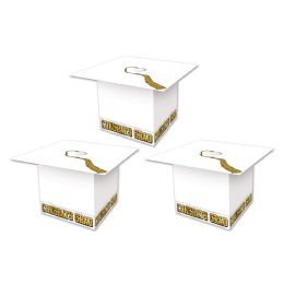 12 Units of Grad Cap Favor Boxes White; Assembly Required - Party Novelties