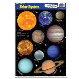 12 Units of Solar System Peel 'N Place - Hanging Decorations & Cut Out