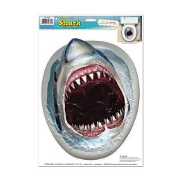 12 Units of Shark Toilet Topper Peel 'N Place - Hanging Decorations & Cut Out