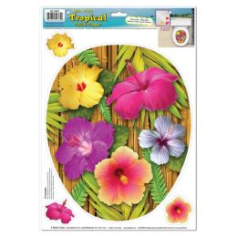 12 Units of Tropical Toilet Topper Peel 'N Place 3 hibiscuses included - Hanging Decorations & Cut Out