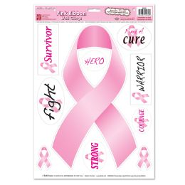 12 Units of Pink Ribbon/Find A Cure Peel 'N Place - Hanging Decorations & Cut Out