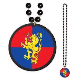 12 Units of Beads w/Medieval Crest Medallion - Party Necklaces & Bracelets