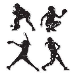 12 Units of Softball Silhouettes prtd 2 sides - Streamers & Confetti