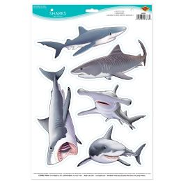 12 Units of Sharks Peel 'N Place - Hanging Decorations & Cut Out