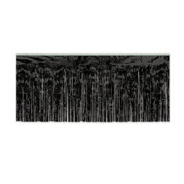 6 Units of Pkgd 1-Ply Fr Metallic Fringe Drape Black - Streamers & Confetti