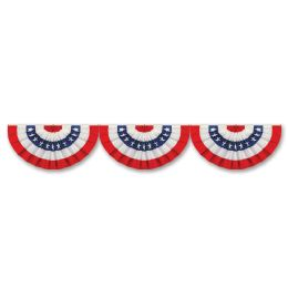 12 Units of Jointed Patriotic Bunting Cutout stars & stripes design; prtd 2 sides - Bulk Toys & Party Favors