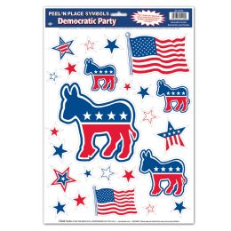 12 Units of Democratic Peel 'N Place - Hanging Decorations & Cut Out