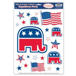12 Units of Republican Peel 'N Place - Hanging Decorations & Cut Out