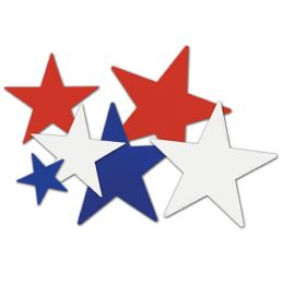24 Units of Star Cutouts asstd red, white, blue; prtd 2 sides; 35 , 39 , 312 - Hanging Decorations & Cut Out