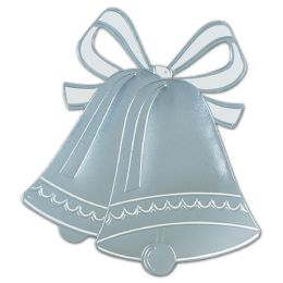 24 Units of Foil Wedding Bell Silhouette silver; foil/prtd 2 sides - Wedding & Anniversary