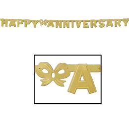 12 Units of Foil Happy Anniversary Streamer gold - Streamers & Confetti