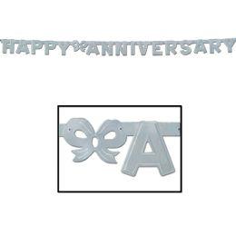 12 Units of Foil Happy Anniversary Streamer silver - Streamers & Confetti