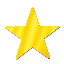 72 Units of Foil Star Cutout Gold; Foil 2 Sides - Hanging Decorations & Cut Out