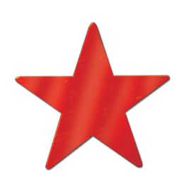 72 Units of Foil Star Cutout red; foil 2 sides - Hanging Decorations & Cut Out