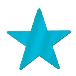 72 Units of Foil Star Cutout turquoise; foil 2 sides - Hanging Decorations & Cut Out