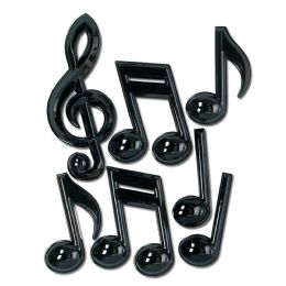 12 Units of Black Plastic Musical Notes - Party Novelties
