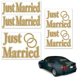12 Units of Just Married Auto-Clings - Hanging Decorations & Cut Out