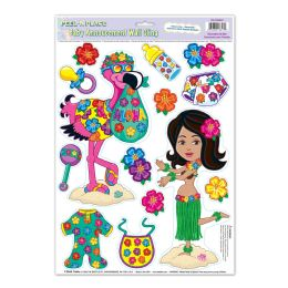12 Units of Hula Baby Peel 'N Place - Hanging Decorations & Cut Out