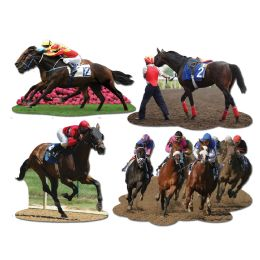 12 Units of Horse Racing Cutouts prtd 2 sides - Hanging Decorations & Cut Out