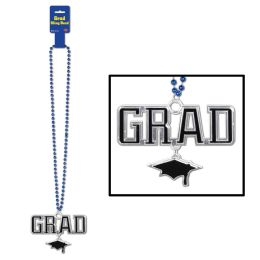 12 Units of Beads w/Grad Medallion blue - Party Necklaces & Bracelets