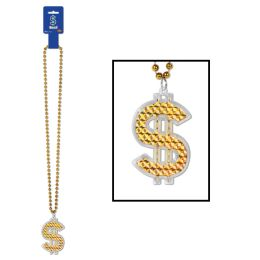 12 Units of Beads w/ $  Medallion - Party Necklaces & Bracelets