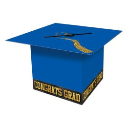6 Units of Grad Cap Card Box blue; assembly required - Party Hats & Tiara