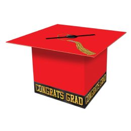 6 Units of Grad Cap Card Box red; assembly required - Party Hats & Tiara