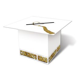 6 Units of Grad Cap Card Box white; assembly required - Party Hats & Tiara